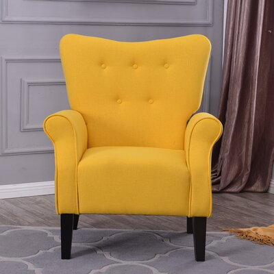 Naumann Roll Arm Linen Wood Leg Club Chair Upholstery: Citrine Yellow