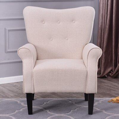 Naumann Roll Arm Linen Wood Leg Club Chair Upholstery: Beige
