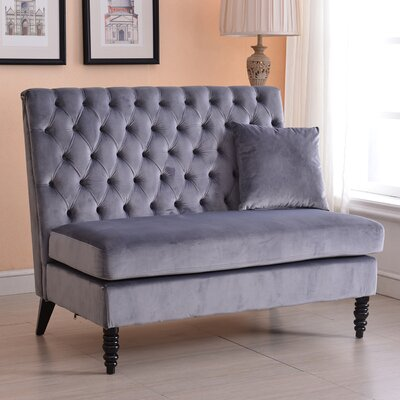 Ellayne Tufted High Back Loveseat Upholstery: Gray