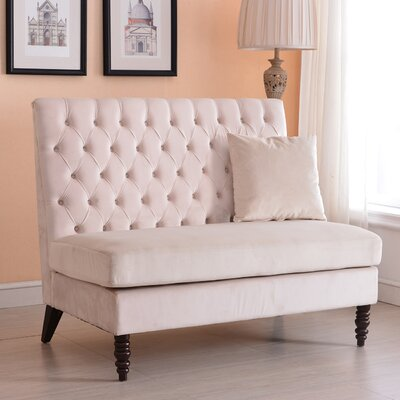 Ellayne Tufted High Back Loveseat Upholstery: Beige