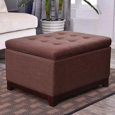Watford Large Storage Upholstered Linen Tufted Ottoman Upholstery: Espresso Brown
