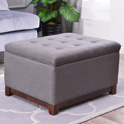 Watford Large Storage Upholstered Linen Tufted Ottoman Upholstery: Charcoal Gray