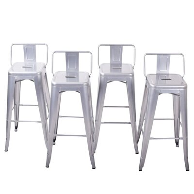 24 Bar Stools Color: Silver