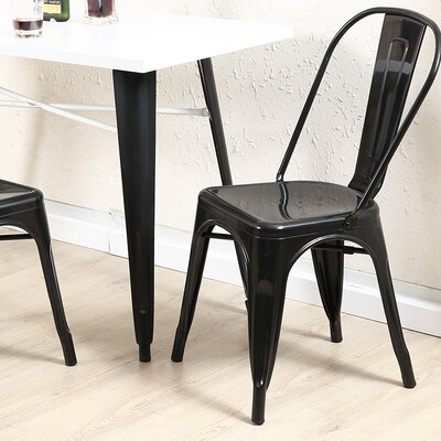 Derrall Modern Vintage Stackable Chic Bistro Cafe Dining Chair Color: Black