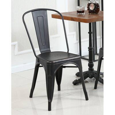 Derrall Modern Vintage Stackable Chic Bistro Cafe Dining Chair Color: Antique Black