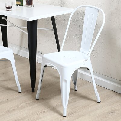 Derrall Modern Vintage Stackable Chic Bistro Cafe Dining Chair Color: White