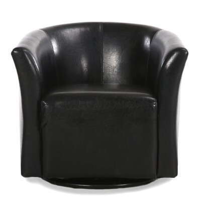 Clinard Modern Style Base Swivel Barrel Chair Upholstery: Black