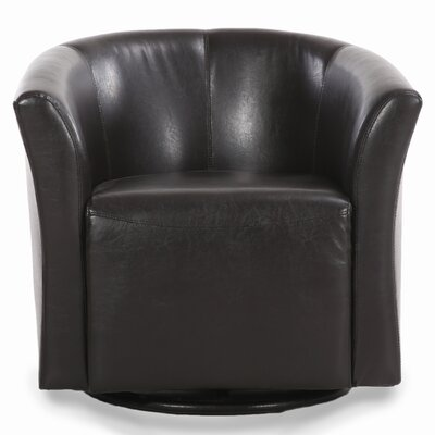 Clinard Modern Style Base Swivel Barrel Chair Upholstery: Brown