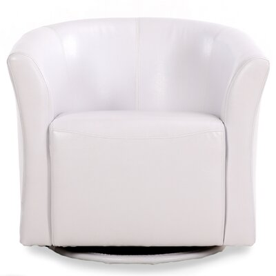 Clinard Modern Style Base Swivel Barrel Chair Upholstery: White