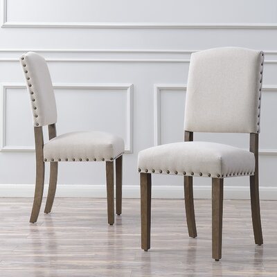 Rodarte Linen Padded High Back Upholstered Dining Chair Upholstery Color: Beige