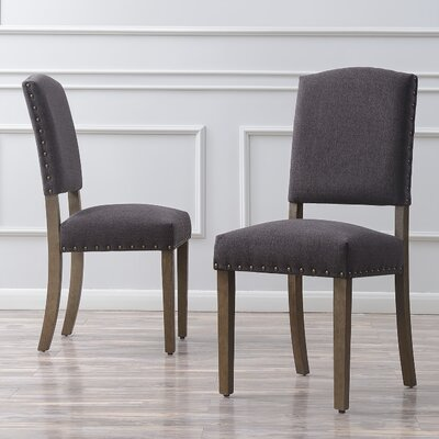 Rodarte Linen Padded High Back Upholstered Dining Chair Upholstery Color: Dark Gray