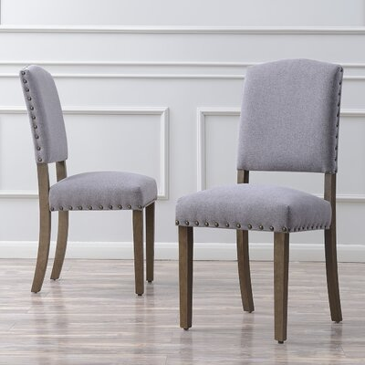 Rodarte Linen Padded High Back Upholstered Dining Chair Upholstery Color: Gray