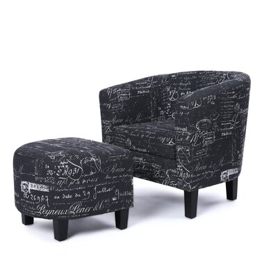 Fitzwater Accent Club Chair with Ottoman Upholstery: Black