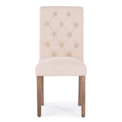 Odelina Button Tufted Upholstered Dining Chair Color: Beige