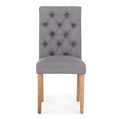 Odelina Button Tufted Upholstered Dining Chair Color: Dark Gray