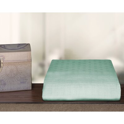 Ultra Soft Cotton Blanket Color: Aqua, Size: Full/Queen
