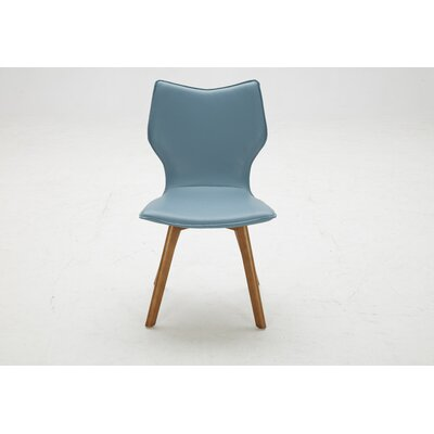 Parsons Chair (Set of 2) Upholstery: Bonded Leather Blue