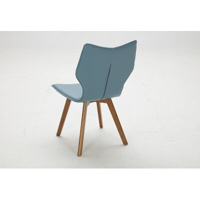 2 Piece Parsons Chair Set Upholstery Bonded Leather Blue Dining Room Side Chair