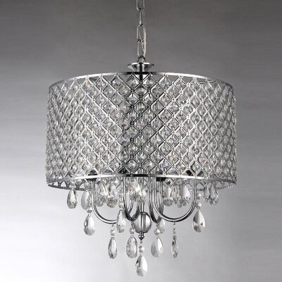 Afaura 4-Light Crystal Chandelier Finish: Chrome