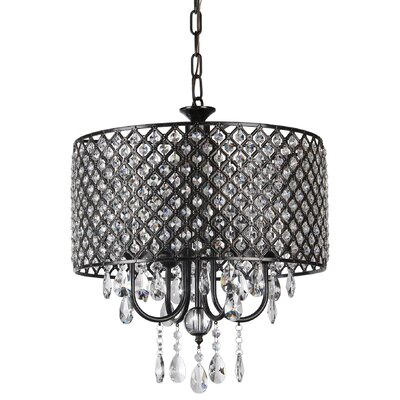 Afaura 4-Light Crystal Chandelier Finish: Antique Black