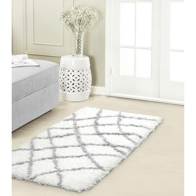 Diamond Chunky Shag Gray/White Area Rug Rug Size: 23 x 39