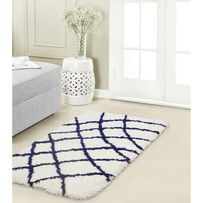 Diamond Chunky Shag Indigo/White Area Rug Rug Size: Rectangle 2 x 3