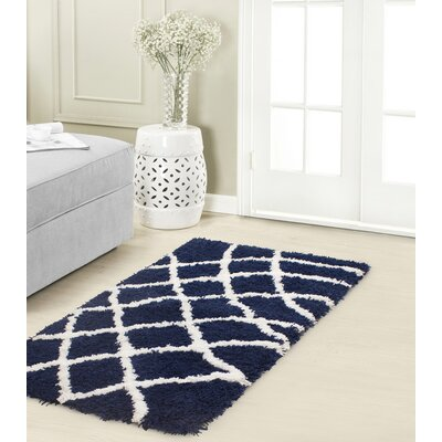 Diamond Chunky Shag White/Indigo Area Rug Rug Size: Rectangle 23 x 39