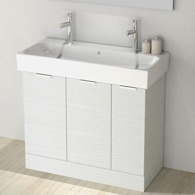 One4Two 40 Single Vanity Set Base Finish: Larch White
