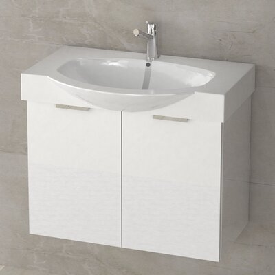 Kalboza 28 Single Vanity Set Base Finish: Glossy White