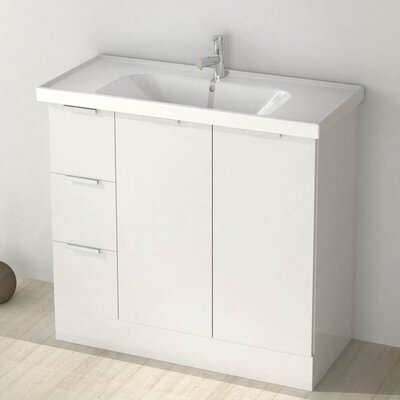 Waloomi 39 Single Vanity Set Base Finish: Glossy White