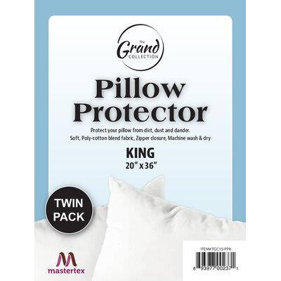 Poly Cotton Zippered Pillow Protector Size: King