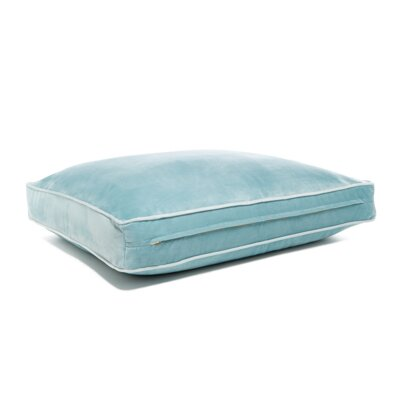 Microsuede Foam and Faux Down Cushion Dog Bed Size: Large (26 L x 34 W), Color: Luxe Sky Blue/Pool Blue