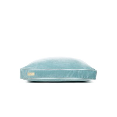 Microsuede Faux Down Cushion Dog Bed Size: Small (18 L x 24 W), Color: Luxe Sky Blue/Pool Blue
