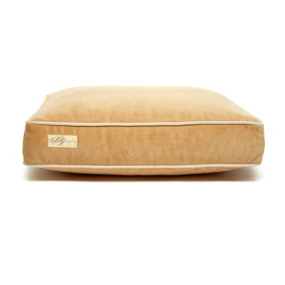 Microsuede Foam and Faux Down Cushion Dog Bed Color: Luxe Honey/Buckwheat, Size: Small (18 L x 24 W)