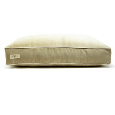Microsuede Foam and Faux Down Cushion Dog Bed Size: Small (18 L x 24 W), Color: Luxe Lichen/Buckwheat
