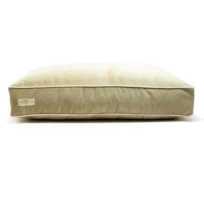 Microsuede Faux Down Cushion Dog Bed Size: Small (18 L x 24 W), Color: Luxe Lichen/Buckwheat