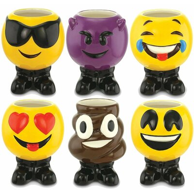 Eastvale Emoji Ceramic 3 oz. 6 Piece Shot Glass Set