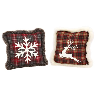 Plush Plaid 2 Piece Throw Pillow Set
