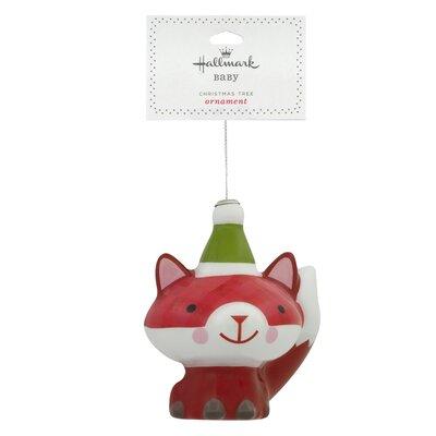 Decoupage Fox Christmas Hanging Ornament