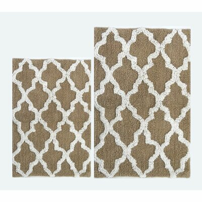 Damask 2 Piece Bath Rug Color: Beige/White