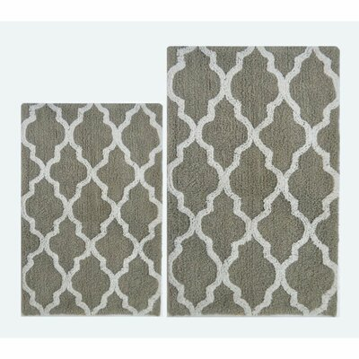 Damask 2 Piece Bath Rug Color: Light Gray/White