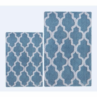 Damask 2 Piece Bath Rug Color: Smoke Blue/White