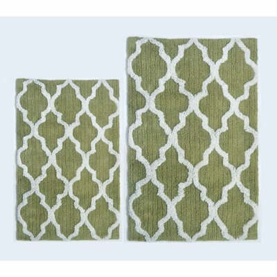 Damask 2 Piece Bath Rug Color: Sage Green