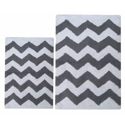 Chevron 2 Piece Bath Rug Set Color: Charcoal Gray/White