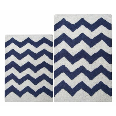 Chevron 2 Piece Bath Rug Set Color: Navy/White