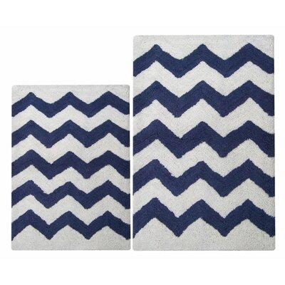Chevron 2 Piece Bath Rug Set Color: Navy/White