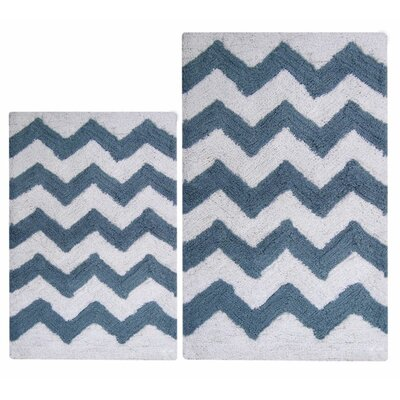 Chevron 2 Piece Bath Rug Set Color: Smoke Blue/White
