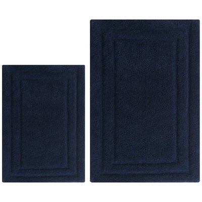 Classic 2 Piece Bath Rug Set Color: Navy Blue