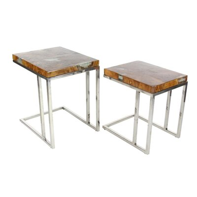 Braswell 2 Piece Stainless Steel and Teak Nesting Tables Set