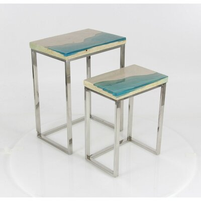 Alpharetta 2 Piece Nesting Table Set Finish: Blue